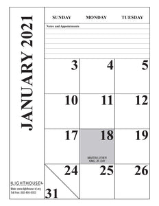 2021 Large Print Desk Calendar Month View