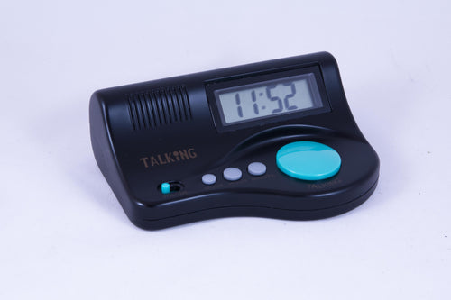 Curve clock w/ big blue talking button