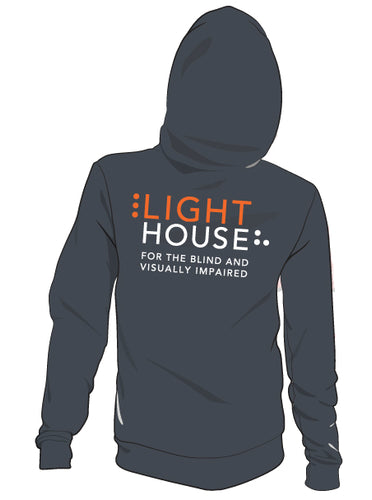 A gray hoodie with the LightHouse logo on the back