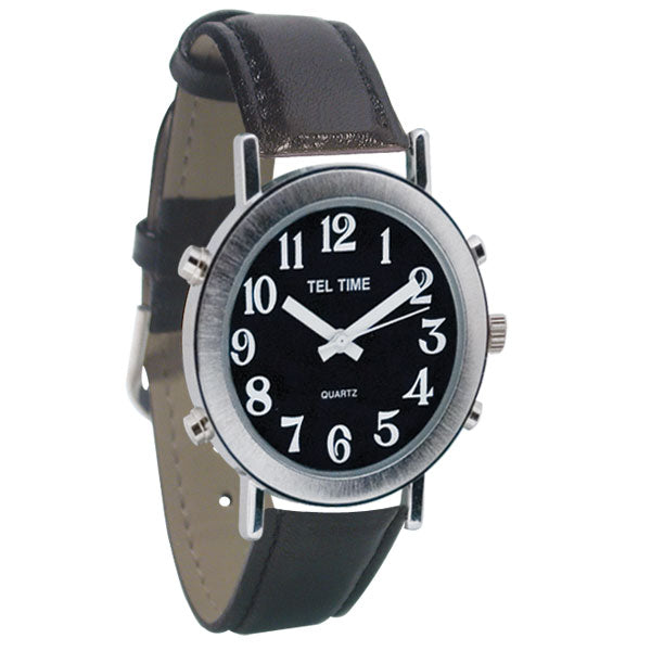 Tel-Time Mens Chrome Talking Watch - Black Face, Leather Band