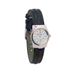 Reizen Chrome Braille Watch, Leather Band (Smaller Size)