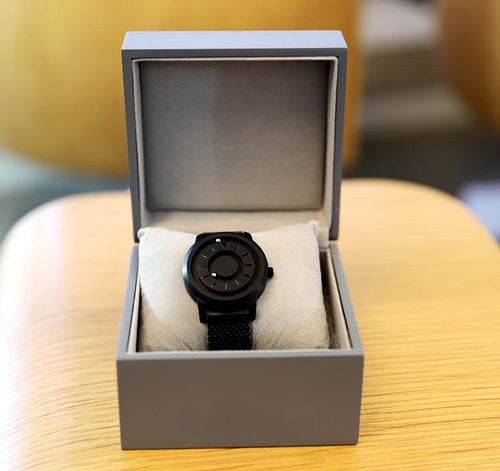 Magnetic Tactile Watch - Black Face with Steel Mesh Band