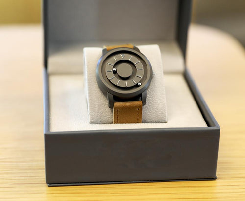 Magnetic Tactile Watch with Brown Leather Band