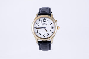 Mens Talking Watch with Black Leather Strap -Gold (Dual Voice)
