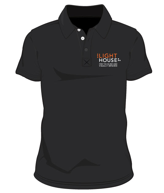A black 3-buttoned polo shirt with the LightHouse logo on the heart