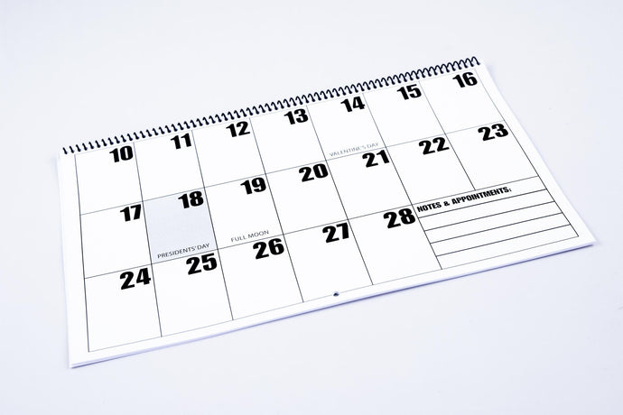 Sample large print calendar page
