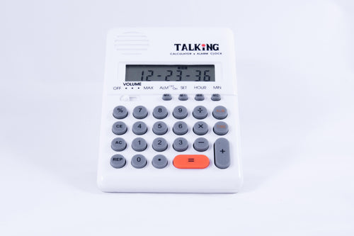 White talking calculator alarm clock w/ adjustable volume