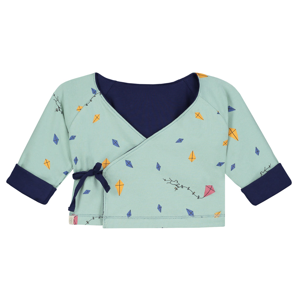 Smitten Organic Essentials - Reversible Unisex Cardigan with Kites Print - Frosty Green Side