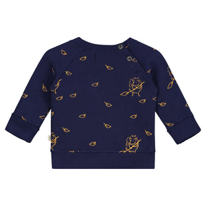 Smitten Organic  - Dress Blue Pullover with Hedgehog collecting the leaves - Back