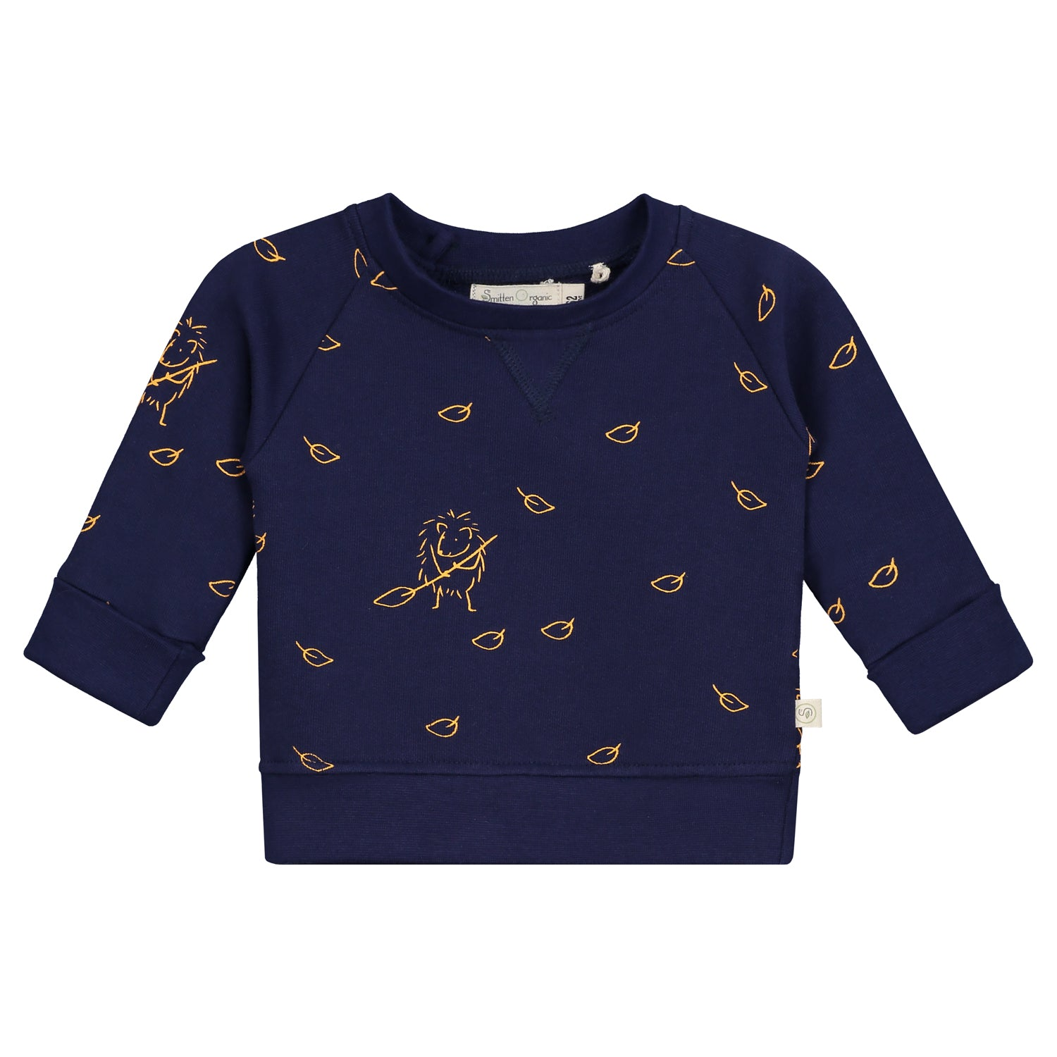 Smitten Organic  - Dress Blue Pullover with Hedgehog collecting the leaves