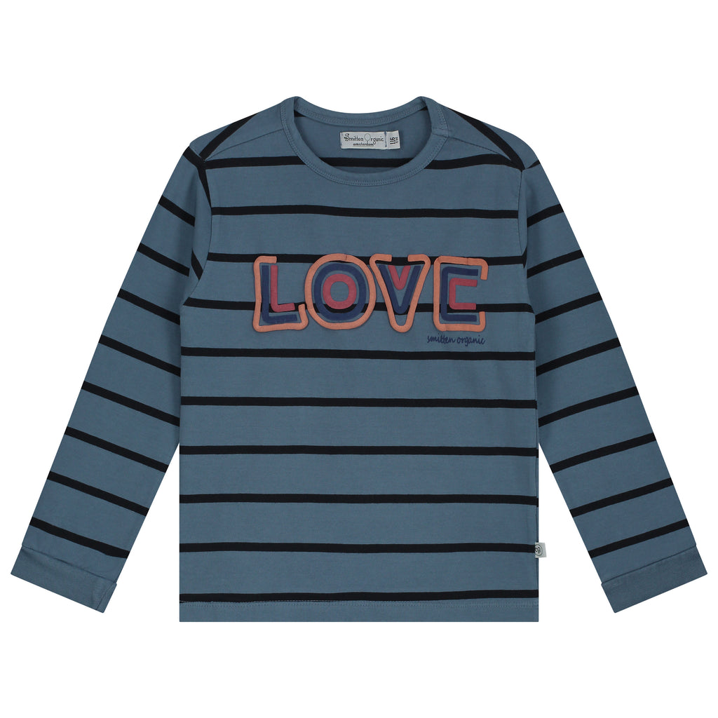 Yarn Dyed Stripes With Love Print T-Shirt LS