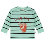 Yarn Dyed Stripes With Movie Time Print T-Shirt LS