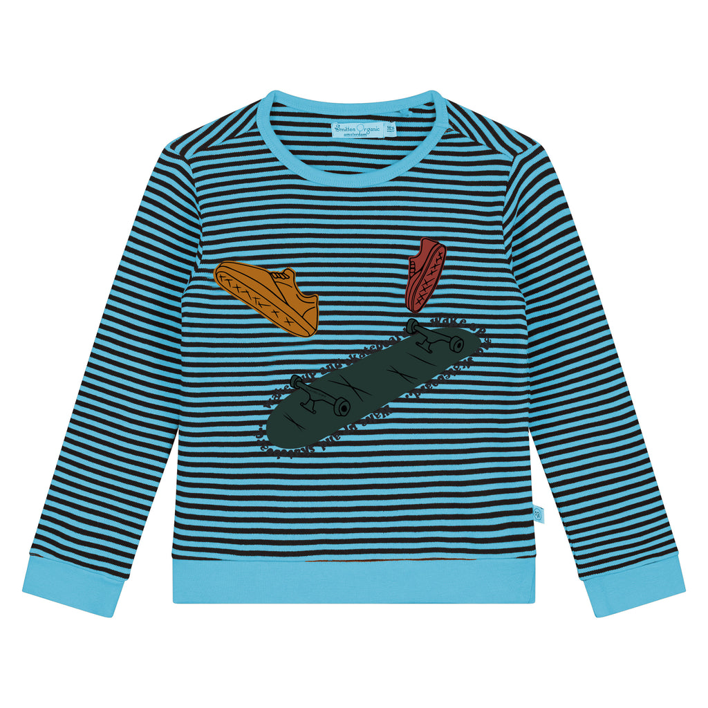 Yarn Dyed Stripes With Skates Print T-Shirt LS
