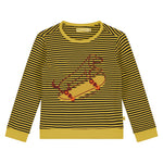 Yarn Dyed Stripes With Skateboarding Print T-Shirt LS