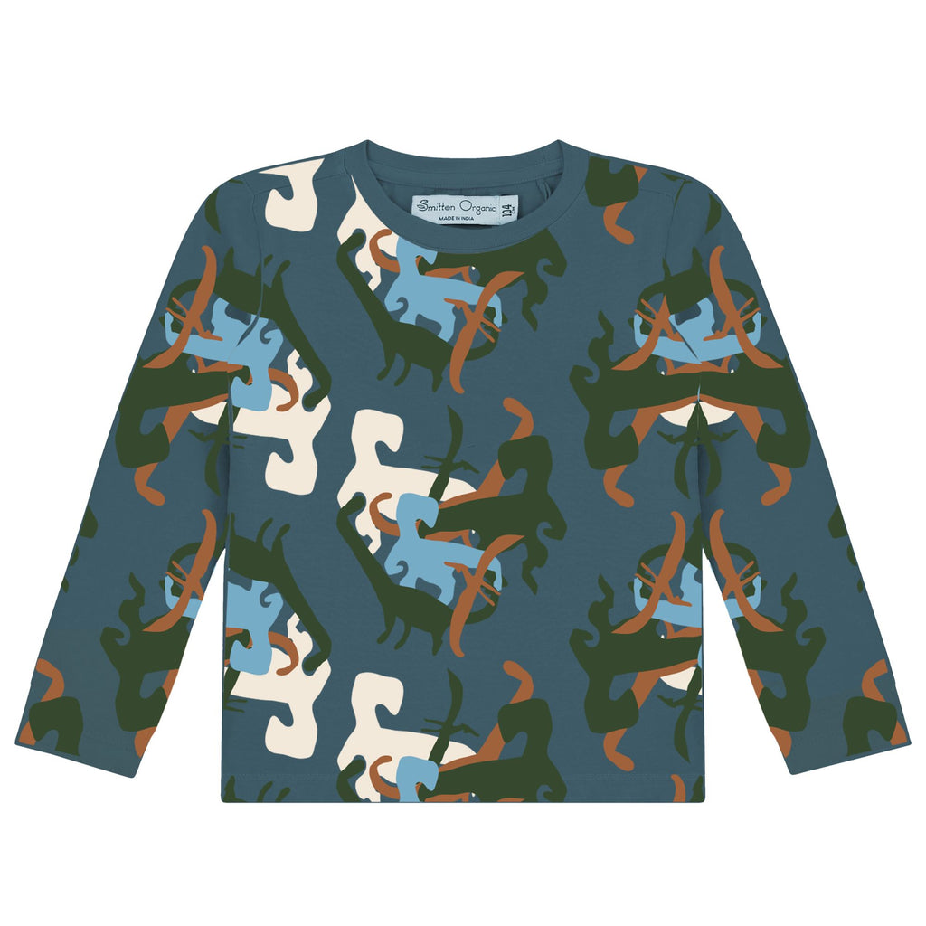 Lange mouwen T-shirt met all over 'Dino' print