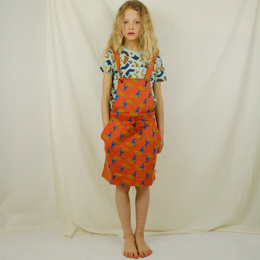 Toucan Banana Print Dungaree Skirt