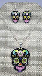CRYSTAL ACCENTED BLACK SUGAR SKULL NECKLACE AND EARRING SET