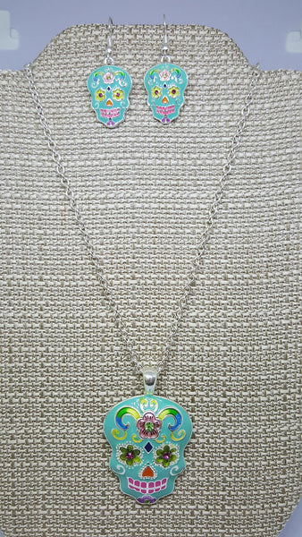 CRYSTAL ACCENTED TURQUOISE SUGAR SKULL NECKLACE AND EARRING SET