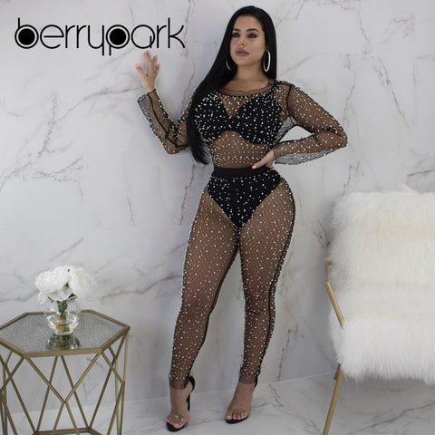 4f0cfc903d6  Collections  - Eternity Designs Boutique. BerryPark Pearl Beading Mesh  Jumpsuit Women 2019 Summer Sunscreen Long Sleeve Sexy ...