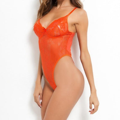 Sheer Lace Thong Bodysuit