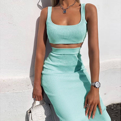 spaghetti strap crop tops skirt 2 pieces set