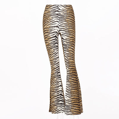 High Waist Tiger Print Flare Trousers