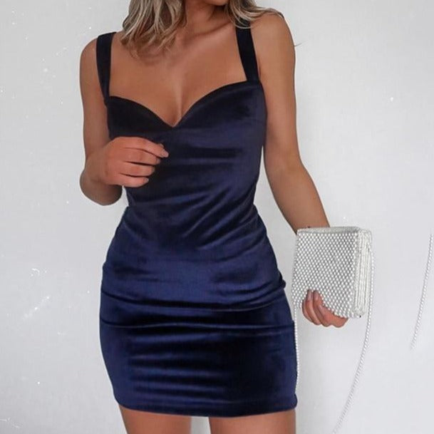 Blue V-Neck Spaghetti Strap Mini Dress