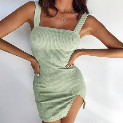 Strap Knitted Mini Dress