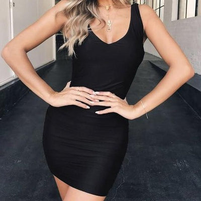 Backless Ruched Bodycon Mini Dress