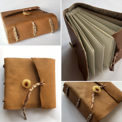 Collage of four images showcasing a custom book with brown leather