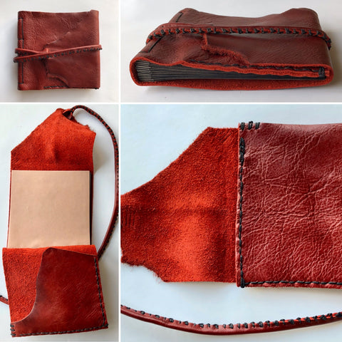 4 image collage showing a custom book design using red leather