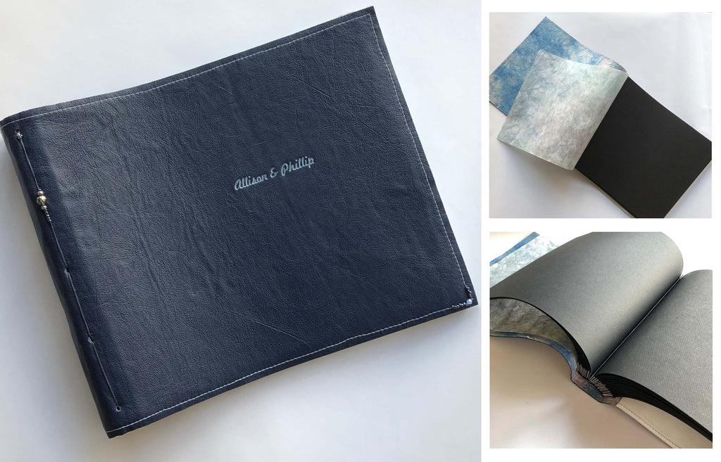 3 pictures of a blue book with Allison and Phillip written on the front. Two pictures of the book show it open, one shows the cover.
