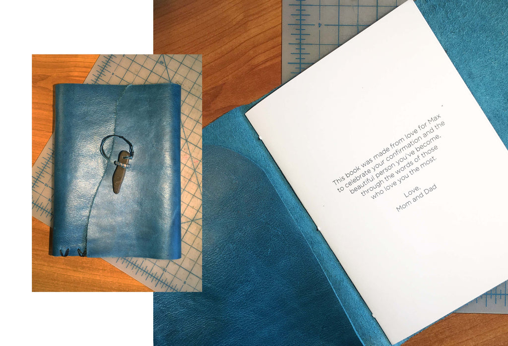 Two pictures of a custom blue book. One image shoes the book shut, the other shows an inscription.
