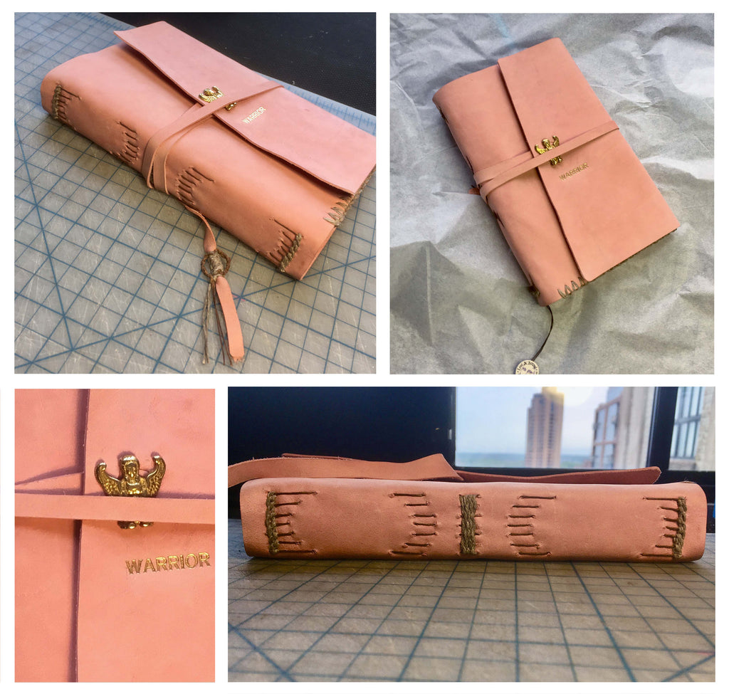 Collage of four pictures showcasing a pink book with Warrior inscribed on the front