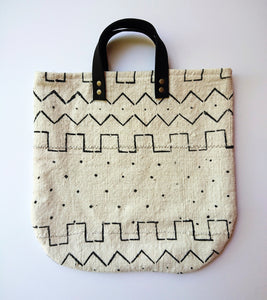 White Mudcloth Tote Bag