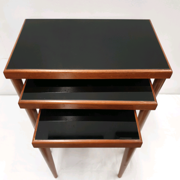 1950's Nest of Tables with Black Vitrolight Glass Tops