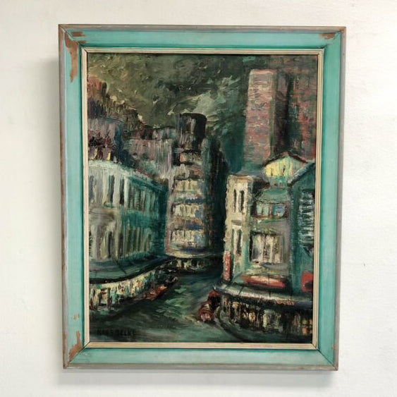 1960's 'Kings Cross' Oil Painting By Australian Artist Hans Selke