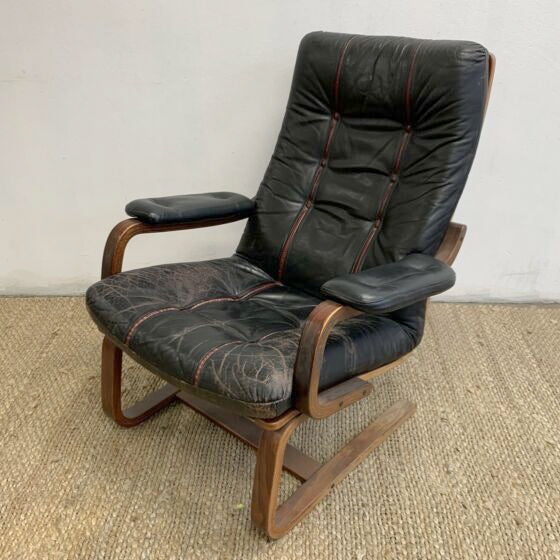 1980's Bentwood and Leather Armchair