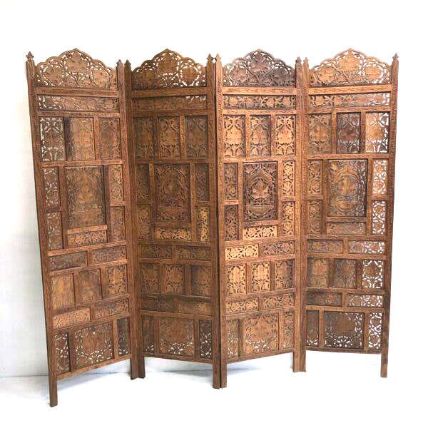 4 Panel Teak Hand Carved Screen