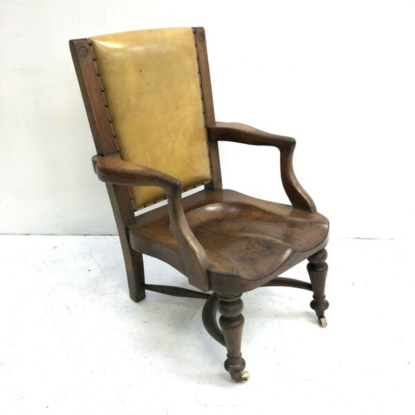 Antique Arts And Crafts carved Oak Armchair