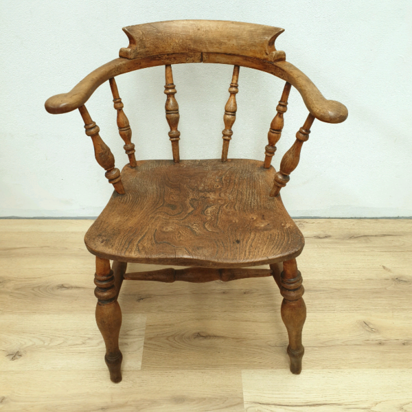 Antique Wooden Spindle Back Elm Elbow Dining Chair Seat c1880
