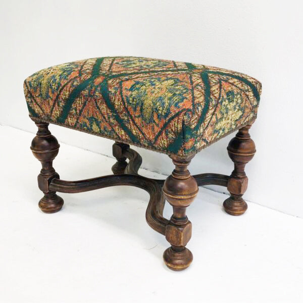 Antique Velvet Upholstered Carved Turned Leg Foot Stool