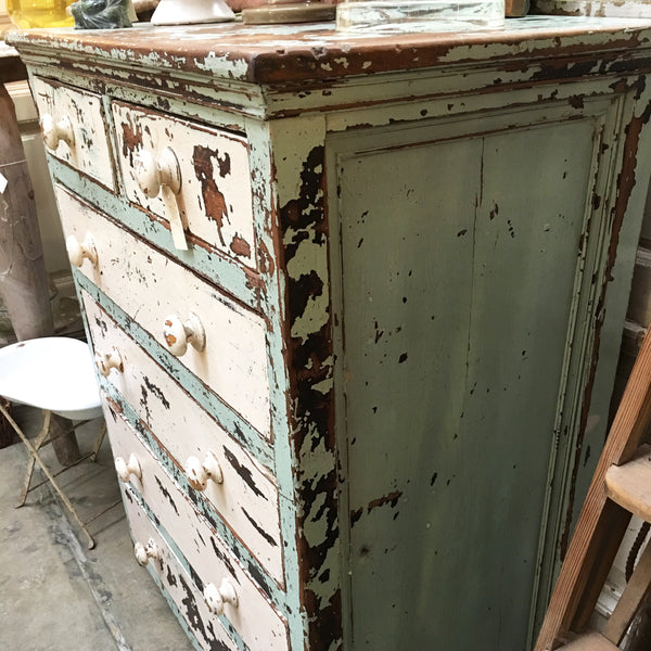 Rustic Original Distressed Paint Antique Cedar Chest of Drawers