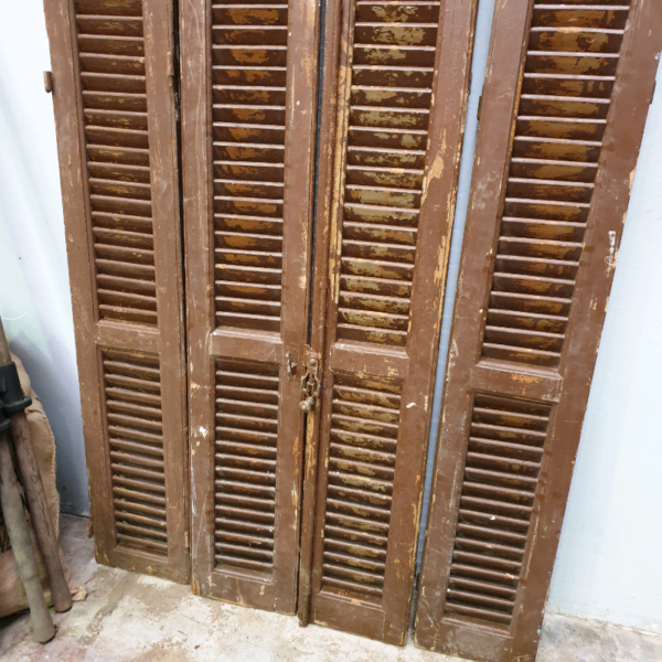 Antique Egyptian Shuttered French Doors 4 Panels