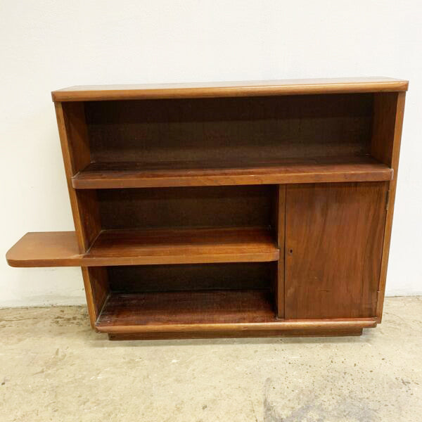 Art Deco/Mid Century Crossover Cedar Book Shelves with Cabinet