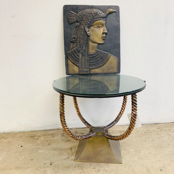 Art Deco Twisted 'Rope' Brass and Glass Side Occasional Table