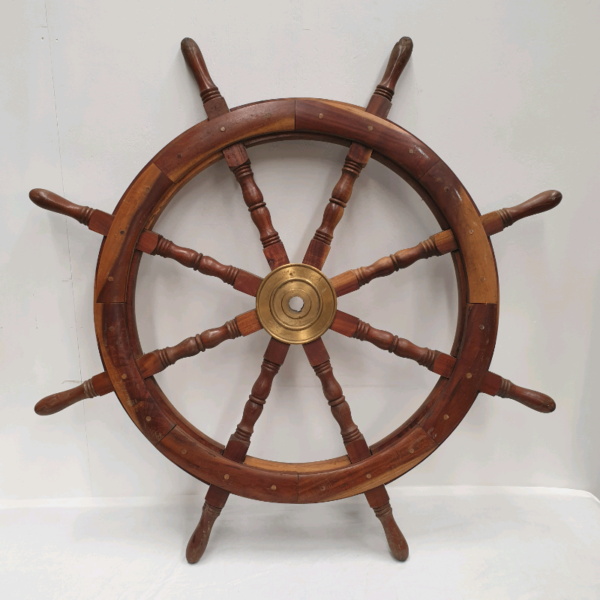 Nautical Wooden and Brass Boat or Ships Wheel