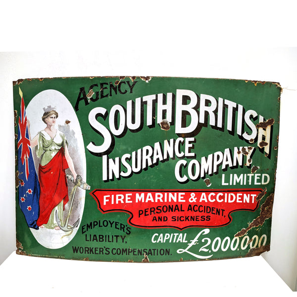 Old Antique Enamel South British Insurance company sign