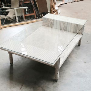 Cane with Glass top coffee table