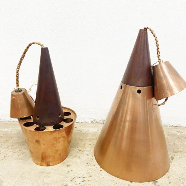 Danish copper and teak mid century pendant light fittings